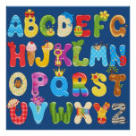 Beautiful Colourful Alphabet for Kids, Baby's Room Poster