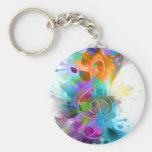 Beautiful colourful and cool splatter music note basic round button key ring