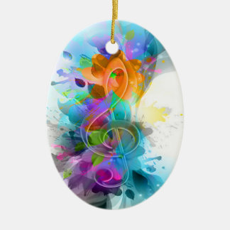 Beautiful colourful and cool splatter music note ceramic oval decoration