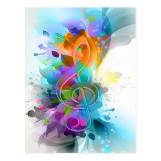 Beautiful colourful and cool splatter music note postcard