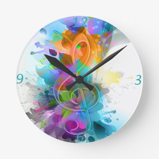 Beautiful colourful and cool splatter music note round