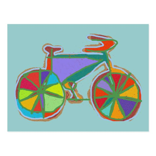 beautiful colourful art bike postcard