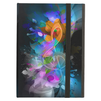 Beautiful colourful cool splatter flowers leaves iPad air case