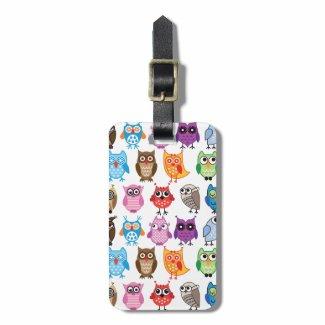 Beautiful Colourful Custom Owl Luggage Tag