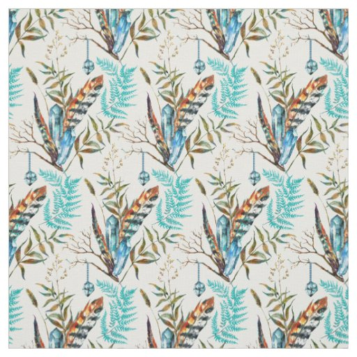 Beautiful Colourful Feathers With Blue Crystals Fabric