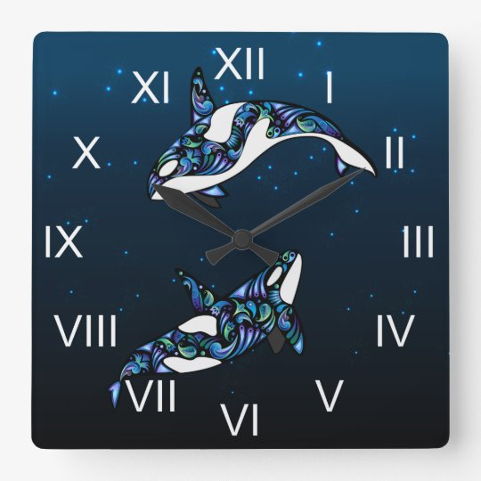 Beautiful Colourful Orca Whales Square Wall Clock