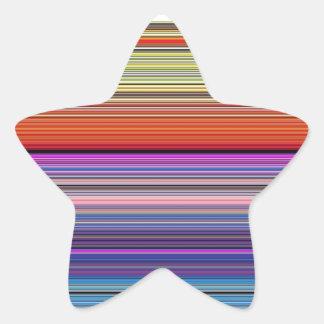 beautiful colourful stripes star sticker