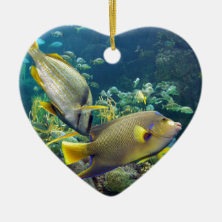 Beautiful Colourful Yellow and Blue Ocean Fish Christmas Ornament