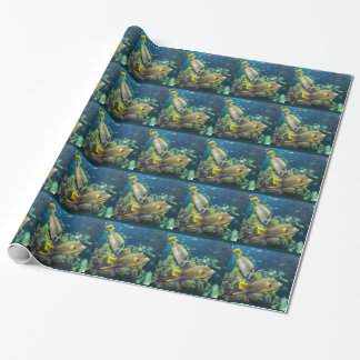 Beautiful Colourful Yellow and Blue Ocean Fish Wrapping Paper