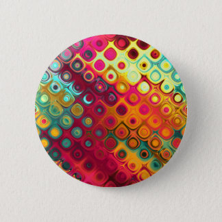 Beautiful cool abstract squares circles glass glow 6 cm round badge