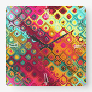 Beautiful cool abstract squares circles glass glow square wall clock