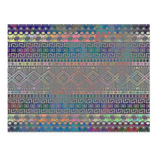 Beautiful cool colourful Aztec geometric pattern Postcard