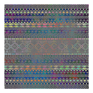 Beautiful cool colourful Aztec geometric pattern Poster