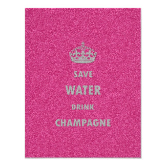 Beautiful cool girly save water drink champagne 11 cm x 14 cm invitation card
