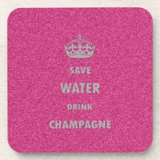 Beautiful cool girly save water drink champagne cr coaster