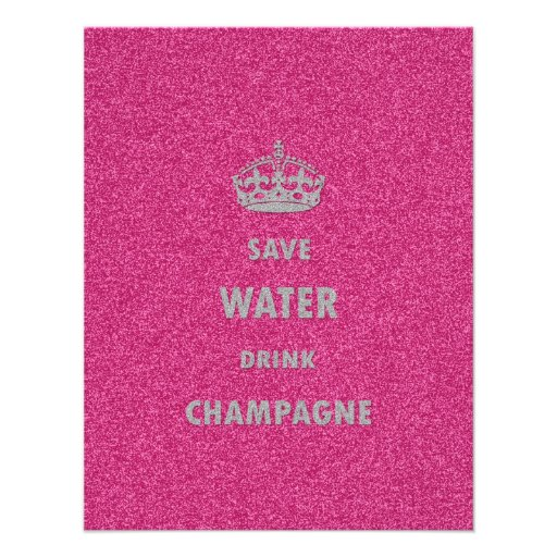 Beautiful cool girly save water drink champagne personalized invites