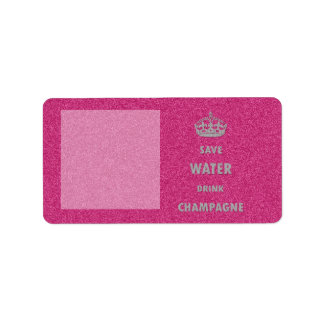 Beautiful cool girly save water drink champagne label