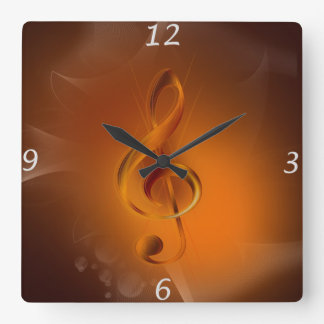 Beautiful cool glowing fire colours effects music square wall clock