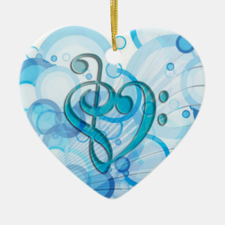 Beautiful cool music notes together as a heart ceramic heart decoration