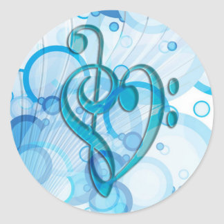 Beautiful cool music notes together as a heart classic round sticker