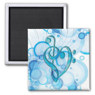 Beautiful cool music notes together as a heart square magnet