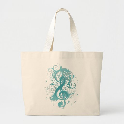 Beautiful cool music notes with splatter swirls canvas bag