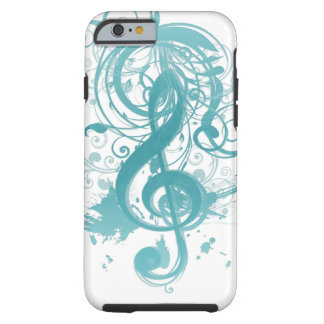 Beautiful cool music notes with splatter swirls tough iPhone 6 case