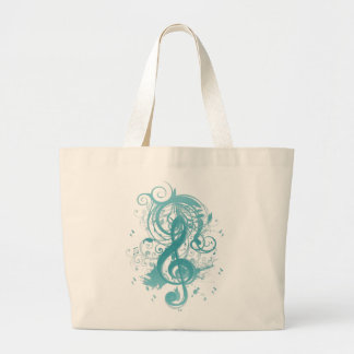 Beautiful cool music notes with splatter swirls jumbo tote bag