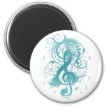 Beautiful cool music notes with splatter swirls magnet