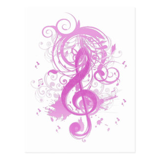 Beautiful cool music notes with splatter swirls postcard