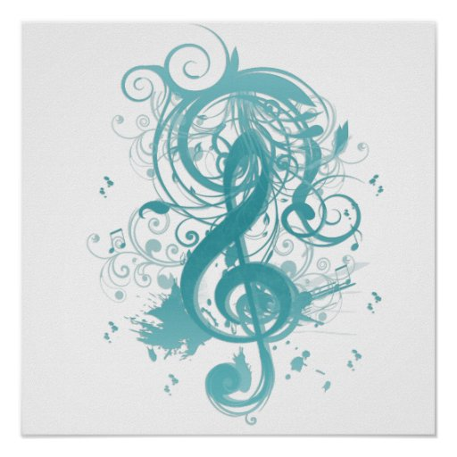 Beautiful cool music notes with splatter swirls poster