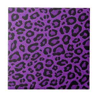 Beautiful cool purple leopard skin glitter effects tile