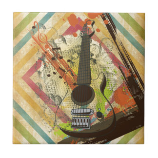 Beautiful cool vintage guitar music notes small square tile