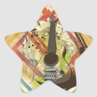 Beautiful cool vintage guitar music notes sticker