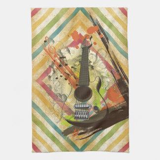 Beautiful cool vintage guitar music notes tea towel