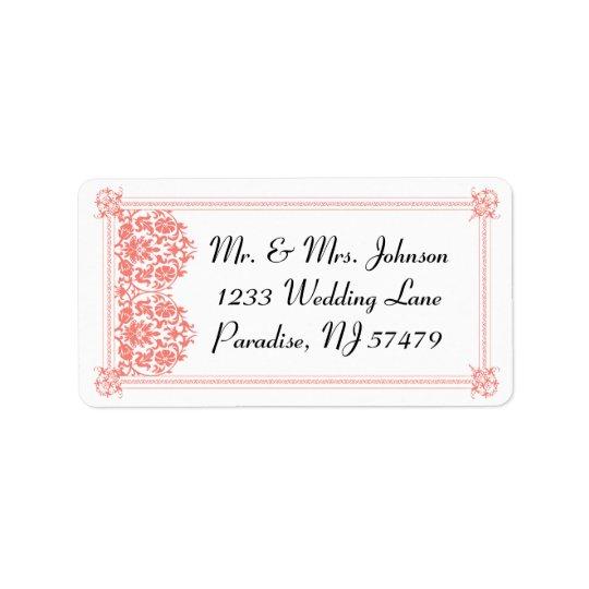 Beautiful Coral Damask & White Wedding - Address Label