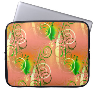 Beautiful Coral Peach Green Yellow Spring Floral Laptop Sleeve