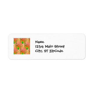 Beautiful Coral Peach Green Yellow Spring Floral Return Address Label