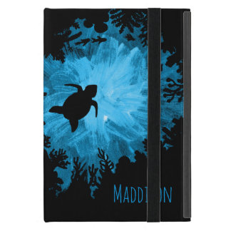 Beautiful Coral Reef Turtle Shadow Black Blue iPad Mini Cover