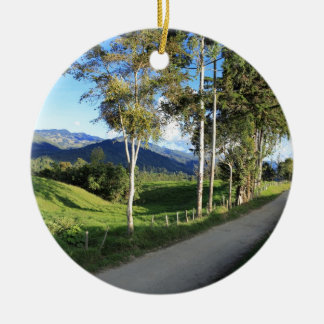 Beautiful country road Salento Colombia Round Ceramic Decoration