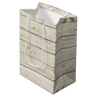 Beautiful Country Shabby Chic Rustic Wood Medium Gift Bag