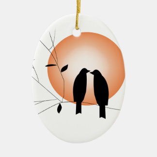 Beautiful couple love birds christmas ornament