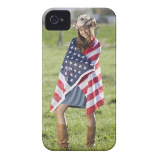 Beautiful cowgirl wrapped in American flag iPhone 4 Cases