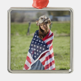 Beautiful cowgirl wrapped in American flag Silver-Colored Square Decoration