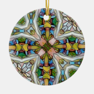 Beautiful Cross Shaped Stained Glass Inspirational Christmas Ornament