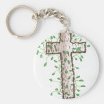 Beautiful Cross with Ivy Leaves Key Chain