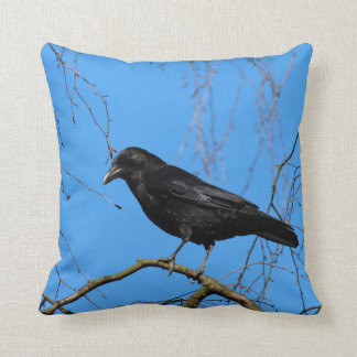 Beautiful Crow on Perch in a Tree Throw Pillow