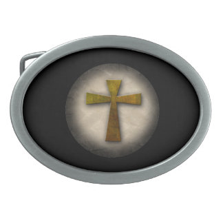 Beautiful Custom Christian Jesus Rustic Cross Belt Buckles