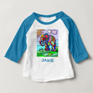 Beautiful custom name colorful elephant art baby T-Shirt