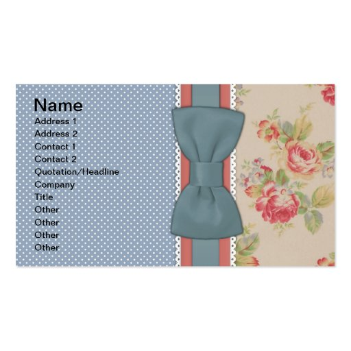 Beautiful cute elegant girly vintage flowers bow business cards